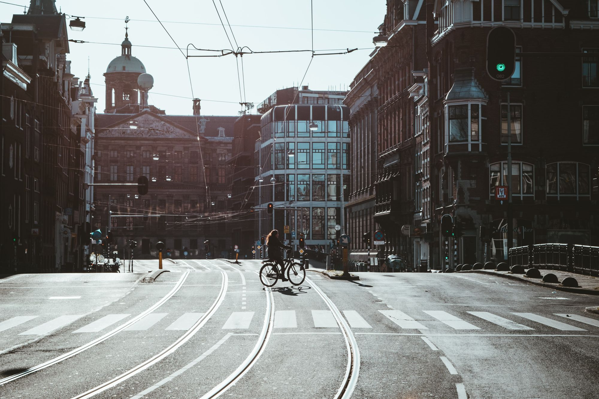 Empty Amsterdisco streets during the COVID-19 pandemic.